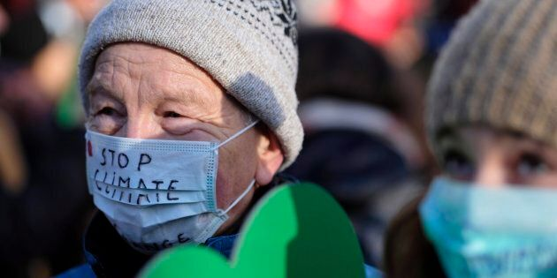 Demonstrators at the March for the Climate rally during the COP24 summit in Katowice, Poland on Dec....