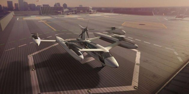 Vertical takeoff and landing craft (VTOLs), like this model from Uber, could be shuttling passengers...