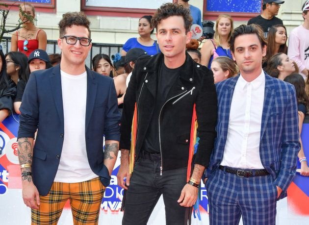 Anthony Carone, Max Kerman and Mike DeAngelis of the Arkells arrive at the 2018 iHeartRADIO MuchMusic...