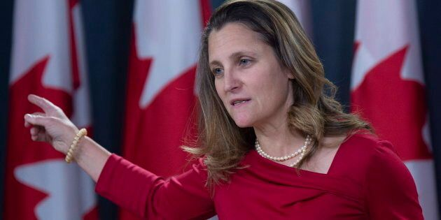 Foreign Affairs Minister Chrystia Freeland speaks with the media during a news conference in Ottawa on...