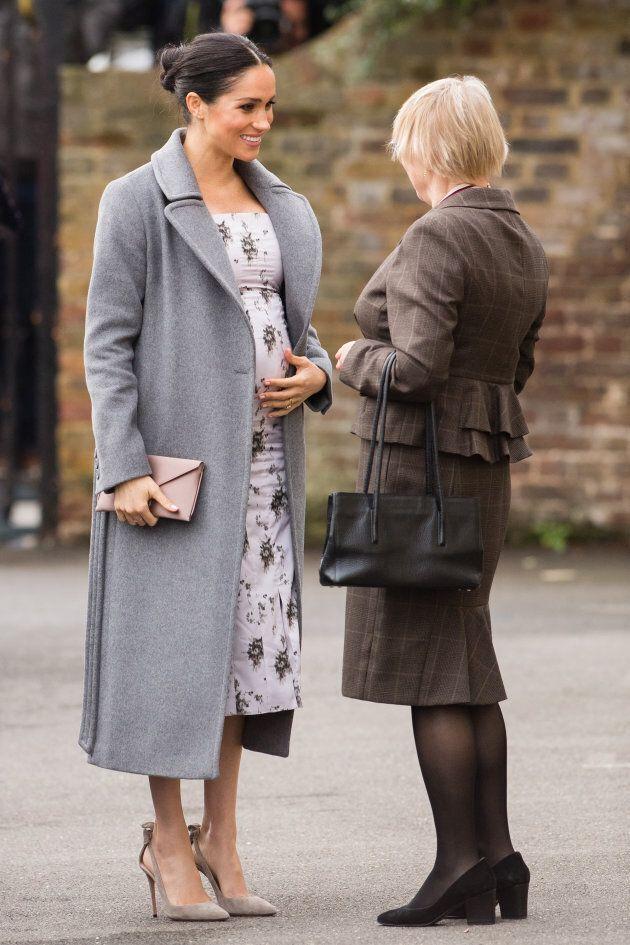 Duchess Meghan visits Brinsworth House in Twickenham, England on Tuesday, Dec. 18.