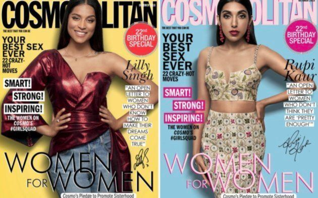Canadians Lilly Singh and Rupi Kaur on the cover of Cosmopolitan India.