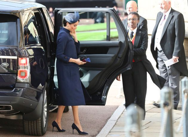 Meghan, Duchess of Sussex, fooling no one as she arrives at the wedding of Princess Eugenie of York and Jack Brooksbank at St George's Chapel, Windsor Castle, near London, England, Oct. 12, 2018.