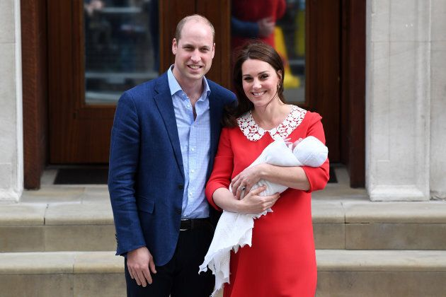 Catherine, Duchess of Cambridge and Prince William, Duke of Cambridge depart the Lindo Wing with their newborn son Prince Louis of Cambridge at St Mary's Hospital on April 23, 2018 in London, England.