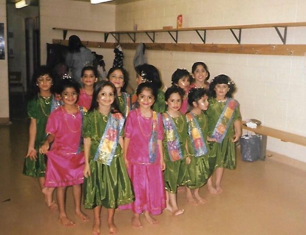 A young Romana Kassam getting ready to perform at the Thorncliffe Khushali Variety show in