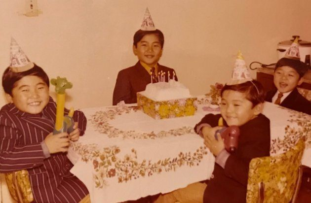 The Koh brothers from left to right: Saehon Koh, Saejoon Koh, Sy Koh, Saewan Koh celebrating a birthday.