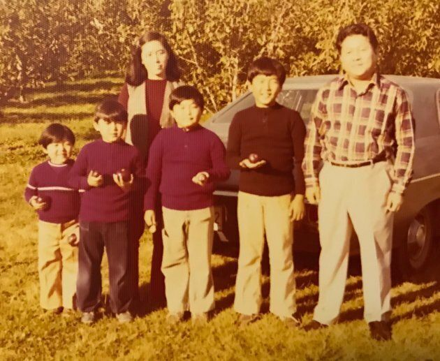 The Koh family at an apple orchard in Ontario.