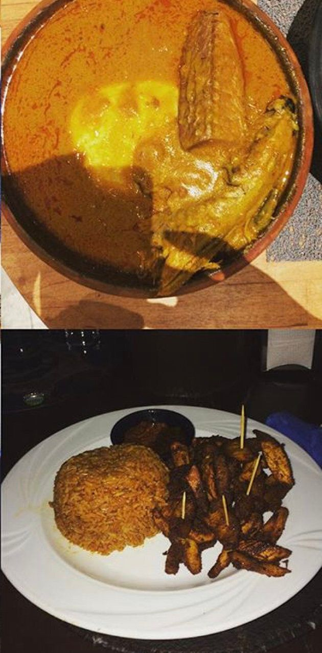 Top photo: Ghanian palm nut soup above. Bottom photo: fried yams and plantain.