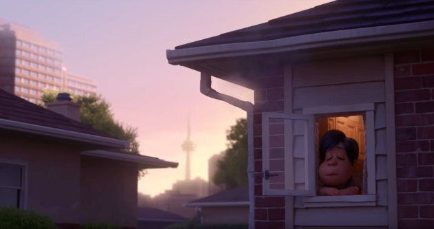 """A scene from """"Bao"""" that shows Toronto's CN Tower."""