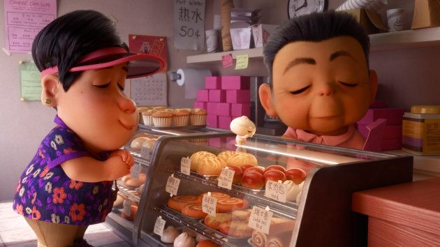 """A scene from """"Bao,"""" in which mom and her dumpling son visit a Chinese bakery to pick up some pastries."""