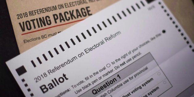The 2018 Referendum on Electoral Reform package and mail in ballot from Elections B.C. is pictured in...