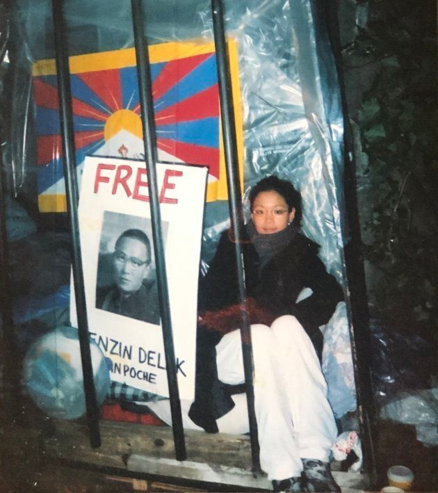 Ontario MPP Bhutila Karpoche participated in a protest with Students for a Free Tibet outside of the...