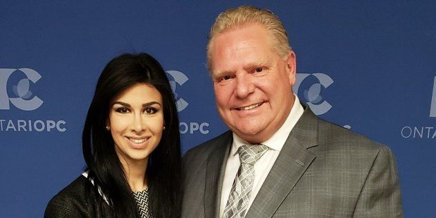 Ontario Progressive Conservative MPP Goldie Ghamari poses with Premier Doug Ford in a Facebook