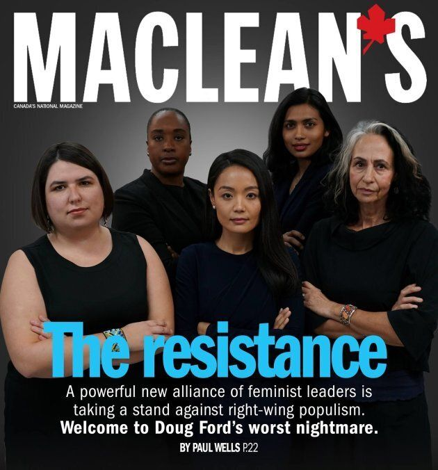 """Ontario MPP Bhutila Karpoche stands with her NDP colleagues in a mock Maclean's magazine cover. The group poked fun at the magazine online after it labelled five male Conservative politicians """"the resistance."""""""