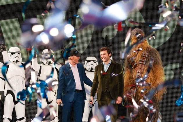 From left to right: Ron Howard and Alden Ehrenreich attend the premiere for 'Solo: A Star Wars Story' at Roppongi Hills in Tokyo, Japan.