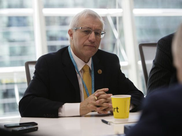 Victor Fedeli, Ontario's finance minister, listens during an interview in New York, U.S., on Nov. 29,...