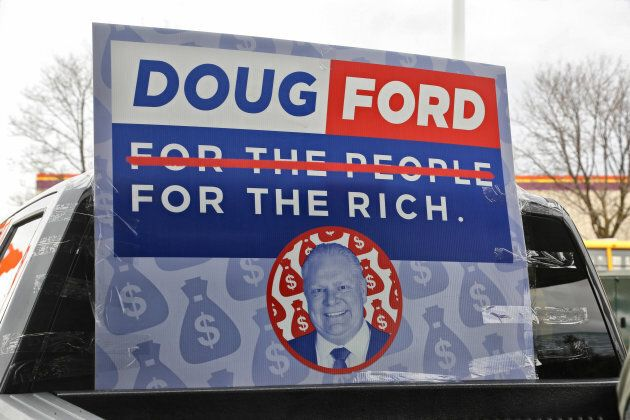 Protestors gathered at Doug Ford's company Deco Labels and Tags in Toronto on Nov. 17, 2018. Protestors...