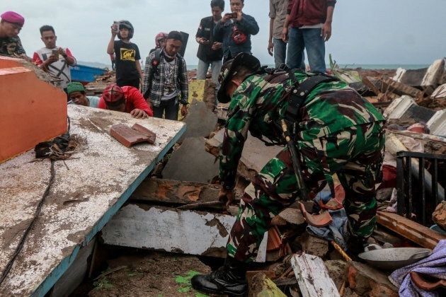 The aftermath of the tsunami wave triggered by Mount Anak Krakatoa eruption in Way Muli Timur Village,...