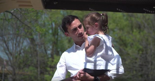 MPP Stephen Lecce is seen with one of his nieces in an image from an Ontario PC party