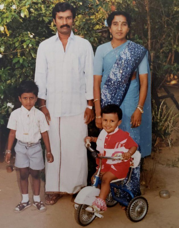 The Thanigasalam family in a 1992 photo. Ontario MPP Vijay Thanigasalam came to Canada when he was