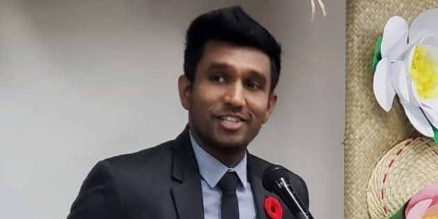 Scarborough—Rouge Park MPP Vijay Thanigasalam speaks at The Filipino Centre