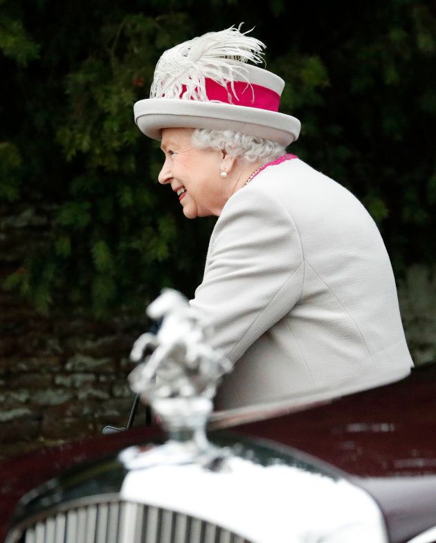 Queen Elizabeth II arrives to attend the Christmas day service on Sandringham Estate in Norfolk, England,...