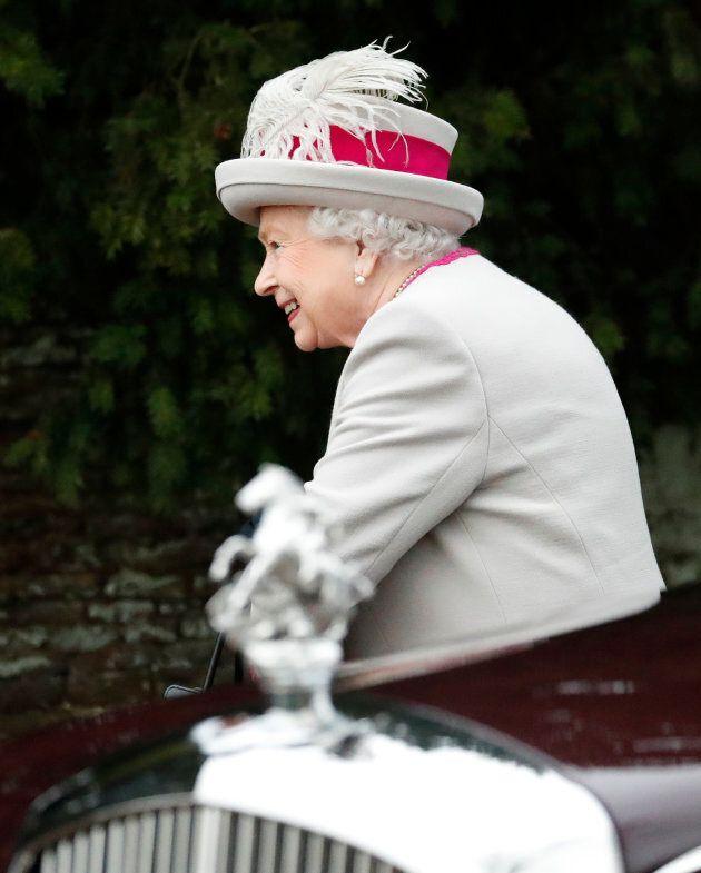 Queen Elizabeth II arrives to attend the Christmas day service on Sandringham Estate in Norfolk, England, Dec. 25, 2018.
