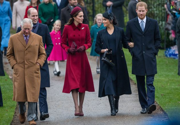 Prince Charles, Prince of Wales, Prince William, Duke of Cambridge, Catherine, Duchess of Cambridge, Meghan, Duchess of Sussex and Prince Harry, Duke of Sussex attend Christmas day church service on the Sandringham estate on December 25, 2018.