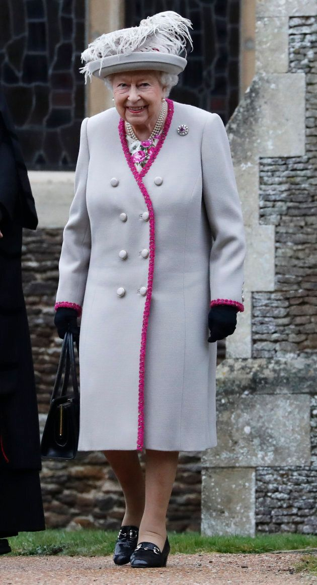 Queen Elizabeth II leaves the Christmas day service at St Mary Magdalene Church in Sandringham in Norfolk,...