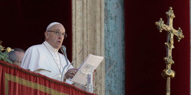 Pope Francis delivers his message during the Urbi et Orbi from the main balcony of St. Peter's Basilica...