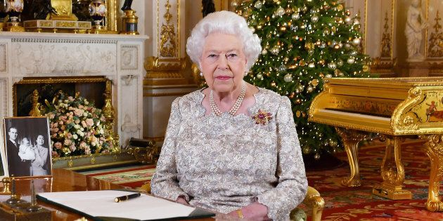 Britain's Queen Elizabeth poses, after recording her annual Christmas Day message in the White Drawing...
