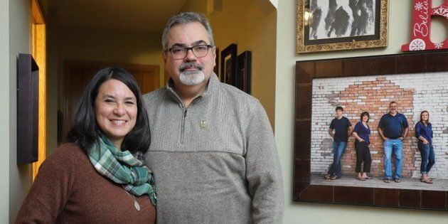 Bernadine and Toby Boulet, parents of the late Humboldt Broncos hockey player Logan Boulet, pose at their...
