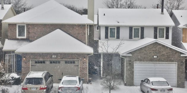 Houses on a residential street in Toronto, Ont., Feb. 9,
