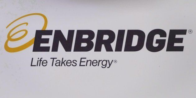 The Enbridge logo is shown at the company's annual meeting in Calgary on May 9,