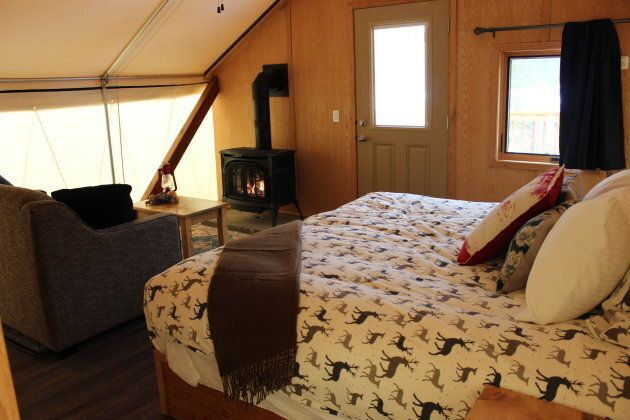 The winter glamping tents at Mount Engadine Lodge are comfortable and warm, with king-sized beds and...
