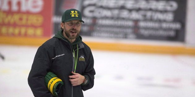Humboldt Broncos head coach Nathan Oystrick skates during the first day of the Humboldt Broncos training...