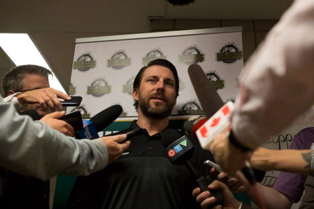 Humboldt Broncos coach Nathan Oystrick speaks to the media during the Humboldt Hockey Day event in Humboldt,...