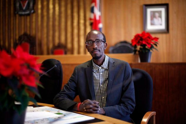Sharmarke Dubow a former Somali refugee who was recently elected to Victoria city council is photographed...