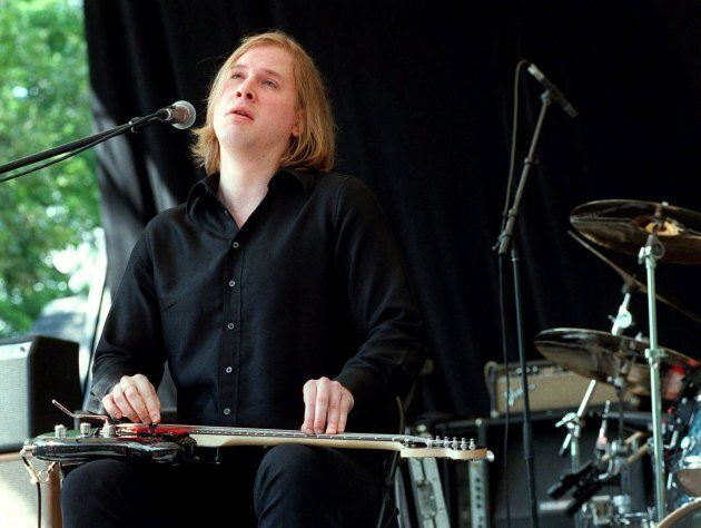 Jeff Healey of the Jeff Healey Band performs in New York's Central Park on July 1, 2000. Healey died...