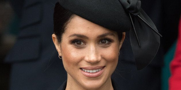 Meghan Markle attends a church service on Christmas Day at the Church of St Mary Magdalene on the Sandringham...
