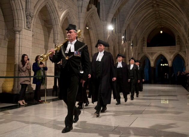 Andrew Scheer follows Sergeant-at-Arms Kevin Vickers through the Hall of Honour during the Speakers parade...