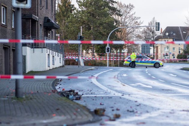 Police block a road in Bottrop, Germany on