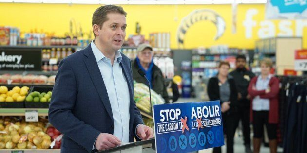 Conservative Leader Andrew Scheer holds a news conference on Jan. 1, 2019 in a Giant Tiger store in