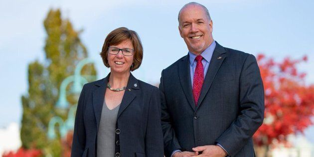 MP Sheila Malcomson is shown with B.C. Premier John Horgan in a photo posted to Malcomson's