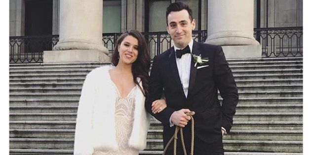 Jacob Hoggard, lead singer of Hedley, with new wife Rebekah Asselstine.