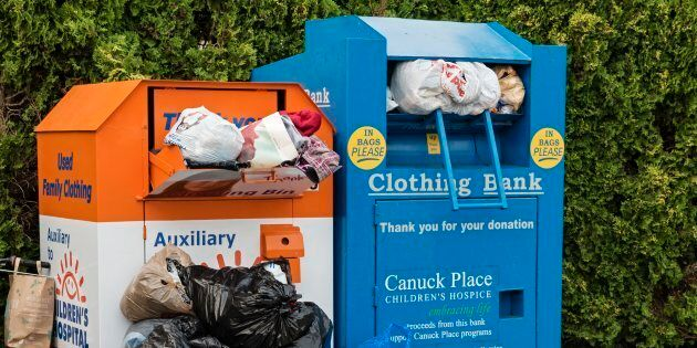 Clothing donation bins in Vancouver, B.C., July 7,