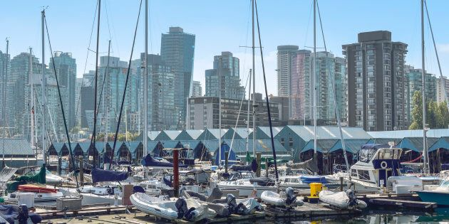 Condo and apartment towers in Vancouver's West End are seen from a marina. The city's housing market...