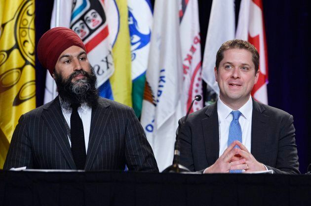 NDP Leader Jagmeet Singh and Conservative Leader Andrew Scheer are shown at the AFN Special Chiefs Assembly in Gatineau, Que., on May 1, 2018.