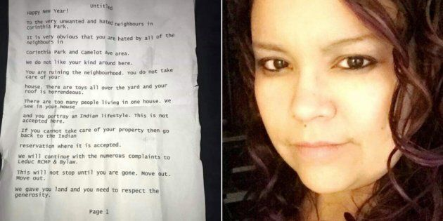 Mishel Assiniboine received a hateful letter that said she and her family are not welcome in their Leduc,...