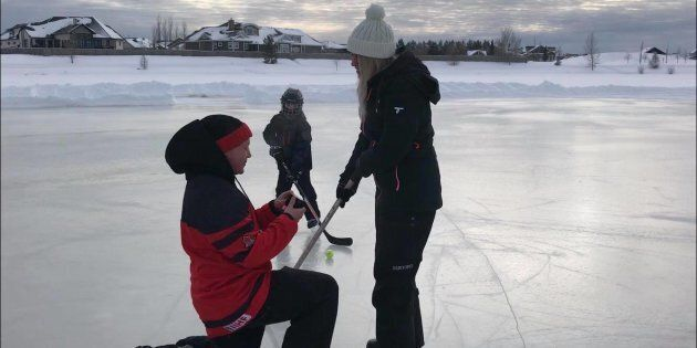 Colin Walter proposes to Rebecca Preston in the most Canadian